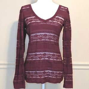 Express Maroon Sheer Lace Long Sleeve Top